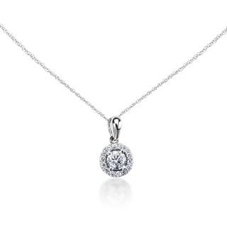SummerRose 14k White Gold 1/2ct TDW Diamond Halo Pendant (G-H, SI1-SI2)