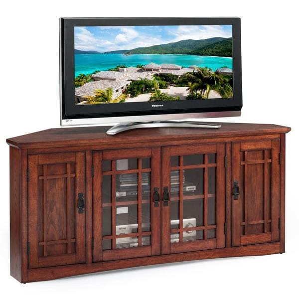 Copper Grove Janie Mission Oak Hardwood 57 Inch Corner Tv Stand Free Shipping Today 22751153