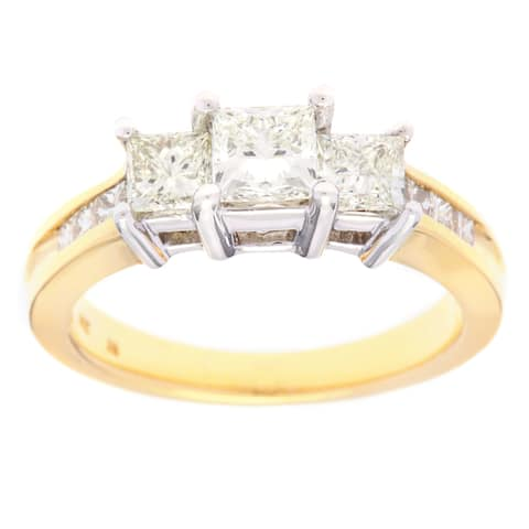 SummerRose 14k Two-tone Gold 1 1/2ct TDW Princess-Cut 3-stone Diamond Engagement Ring