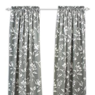 Antebellum Graphite Floral 108-inch Curtain Panel