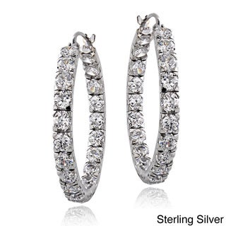 Link to ICZ Stonez Sterling Silver 4 5/8ct TGW Cubic Zirconia Inside-out Hoop Earrings Similar Items in Necklaces