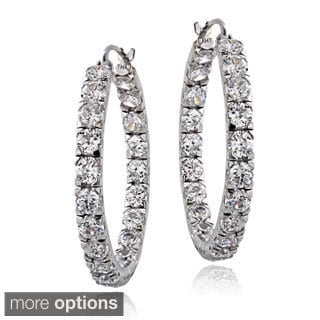 ICZ Stonez Sterling Silver 4 5/8ct TGW Cubic Zirconia Inside-out Hoop Earrings