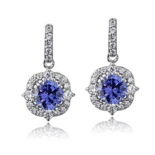 ICZ Stonez Sterling Silver 2 1/4ct TGW Blue and White Cubic Zirconia Round Vintage Style Dangle Earrings