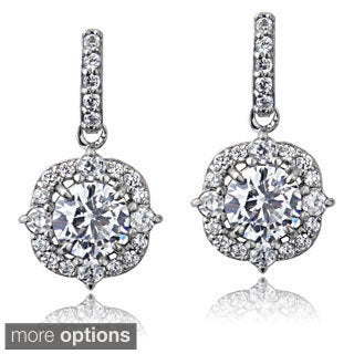 ICZ Stonez Sterling Silver 2 1/4ct TGW Cubic Zirconia Vintage Style Dangle Earrings