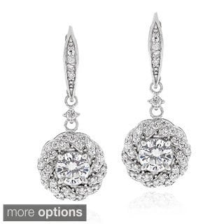 ICZ Stonez Sterling Silver 2 2/5ct TGW Cubic Zirconia Flower Dangle Leverback Earrings
