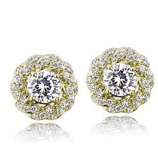 ICZ Stonez Sterling Silver 2 1/3ct TGW Cubic Zirconia Flower Stud Earrings