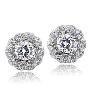 ICZ Stonez Sterling Silver 2 1/3ct TGW Cubic Zirconia Flower Stud Earrings