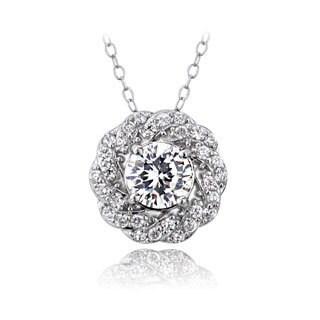 ICZ Stonez Sterling Silver 1 1/6ct TGW Cubic Zirconia Flower Necklace