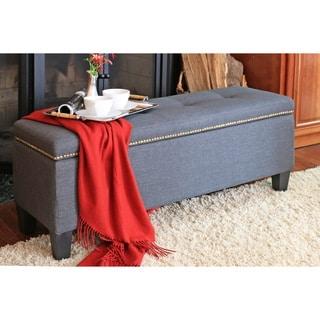 Baxton Studio Solippa Upholstered Storage Linen Blue Grey Ottoman