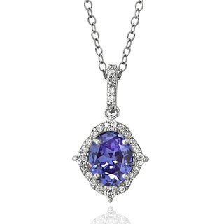 ICZ Stonez Sterling Silver 2 1/5ct TGW Blue and White Cubic Zirconia Oval Vintage Style Necklace
