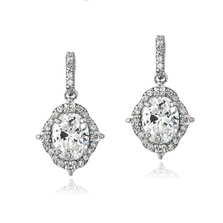 ICZ Stonez Sterling Silver 3ct TGW Cubic Zirconia Oval Vintage Style Dangle Earrings