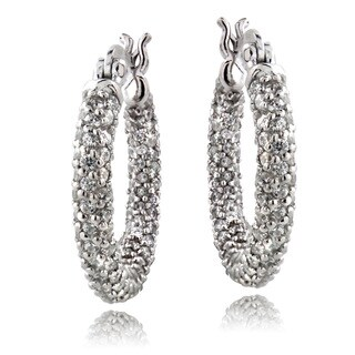 ICZ Stonez Sterling Silver 3 2/5ct TGW Cubic Zirconia Hoop Earrings (2 options available)