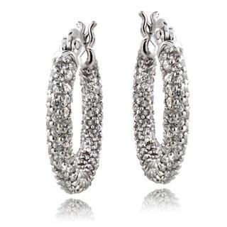ICZ Stonez Sterling Silver 3 2/5ct TGW Cubic Zirconia Hoop Earrings