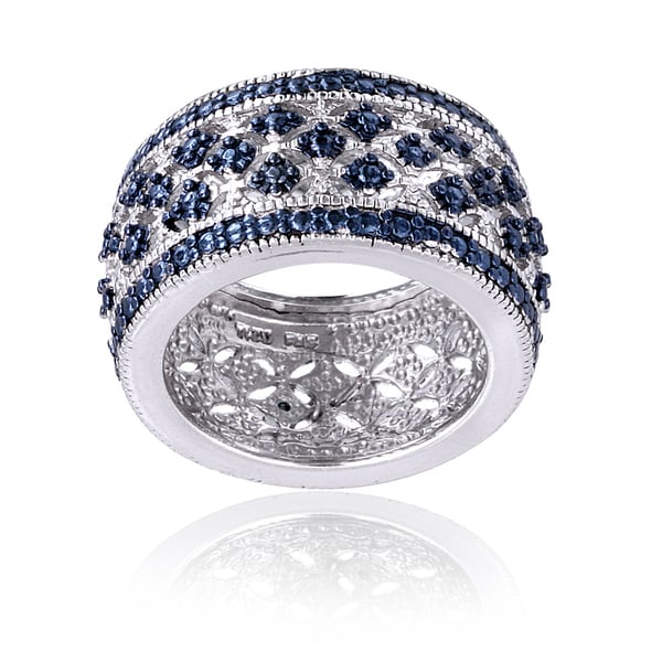 DB Designs Blue Diamond Accent Wide Band Ring