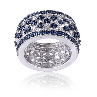 DB Designs Blue Diamond Accent Wide Band Ring (More options available)
