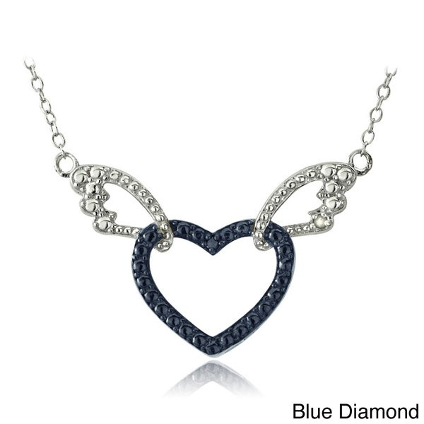 DB Designs Sterling Silver Blue or Black Diamond Accent Heart and Wings Necklace