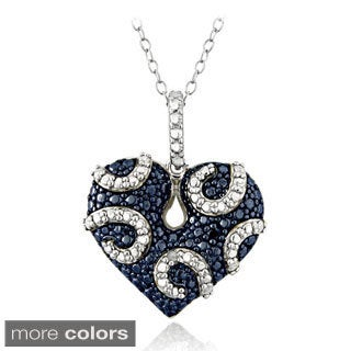 DB Designs Sterling Silver Blue or Black Diamond Accent Heart Swirl Necklace