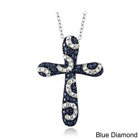 DB Designs Sterling Silver Blue or Black Diamond Accent Cross Swirl Necklace