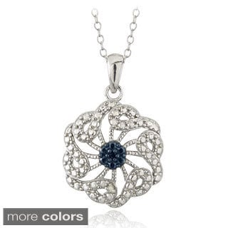 DB Designs Sterling Silver Blue or Black Diamond Accent Floral Necklace