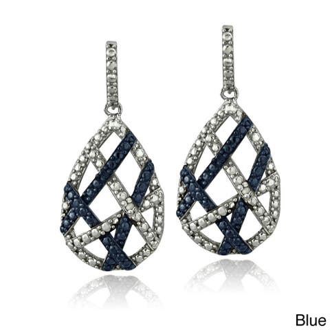 DB Designs Sterling Silver Blue or Black Diamond Accent Weave Earrings