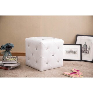 Forza White Faux Leather Crystal Accents Cubed Ottoman Stool