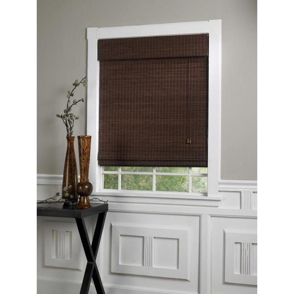 Lewis Hyman Privacy Bamboo Roman Shades in Walnut Finish