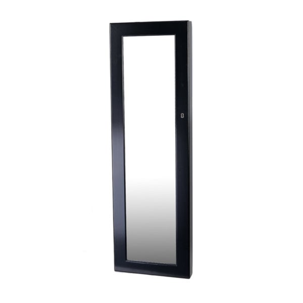 Delux Wallmount Black Over-the-door Cheval Organizational Mirror Jewelry Armoire Cabinet Storage Wall Mount
