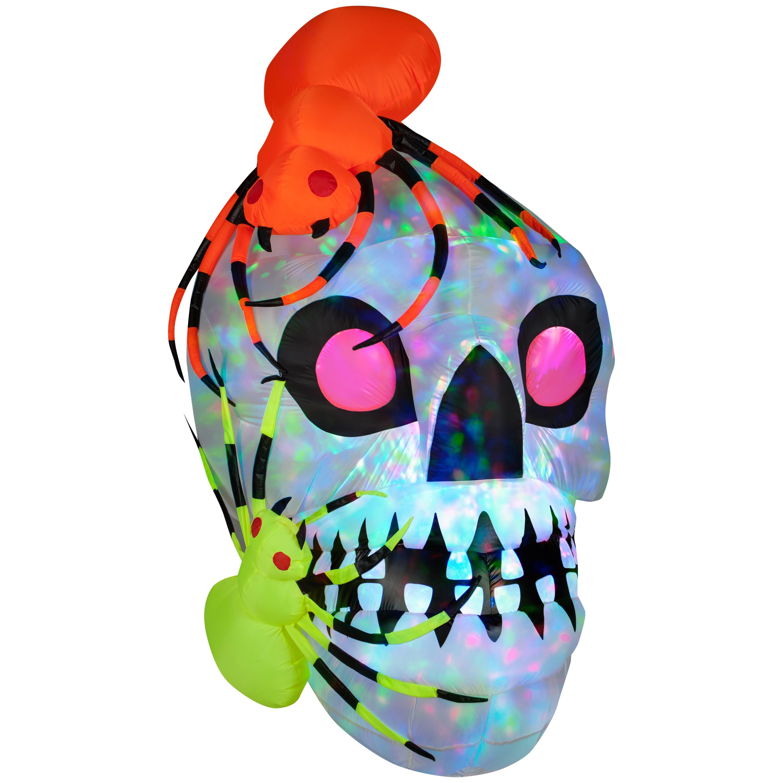 Light Show Skull with Spiders-Kaleidoscope, Multi (Plastic)
