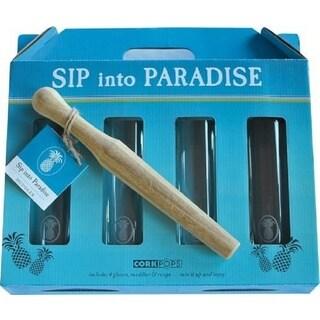 Cork Pops Sip into Paradise Glassware Set