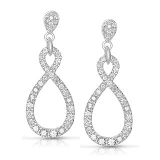 Eloquence 14k White Gold 1 1/2ct TWD Diamond Infinity Dangle Earrings (G-H, I1-I2)
