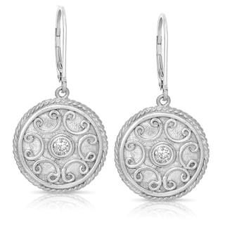 Eloquence Sterling Silver 1/5ct TWD Diamond Circle Dangle Earrings (H-I, I2-I3)