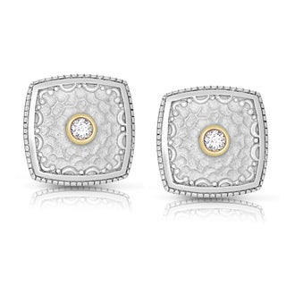 Eloquence Sterling Silver and 14k Yellow Gold 1/5ct TWD Bezel Square Diamond Earrings (H-I, I2-I3)
