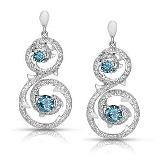 Eloquence 14k White Gold 2 1/4ct TWD Blue/ White Diamond Earrings (G-H, I1-I2)
