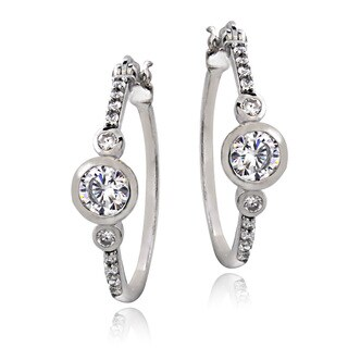 ICZ Stonez Sterling Silver 7/8ct TGW Cubic Zirconia Bezel-set Hoop Earrings