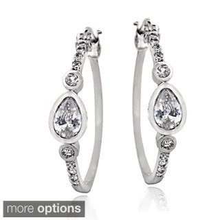 ICZ Stonez Sterling Silver 1 1/10ct TGW Cubic Zirconia Bezel-set Hoop Earrings