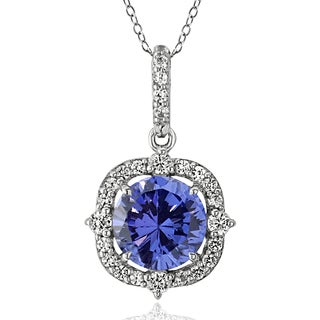 ICZ Stonez Sterling Silver 2 1/3ct TGW Blue and White Cubic Zirconia Vintage Style Necklace
