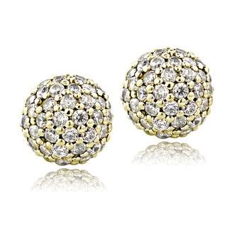 ICZ Stonez Sterling Silver 1 1/2ct TGW Cubic Zirconia Ball Bead Stud Earrings
