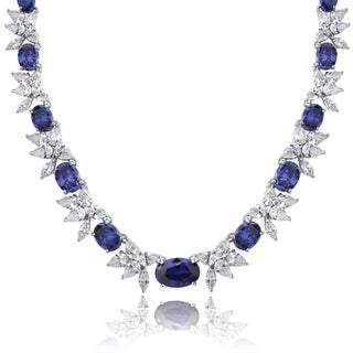 ICZ Stonez Sterling Silver 59 3/4ct TGW Violet Blue and White Cubic Zirconia Oval Flower Necklace