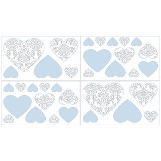 Sweet Jojo Designs Blue and Grey Avery Wall Decal Stickers (Set of 4 Sheets)
