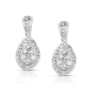Eloquence 14k White Gold 1/2ct TDW Diamond Cluster Teardrop Dangle Earrings (G-H, I1-I2)