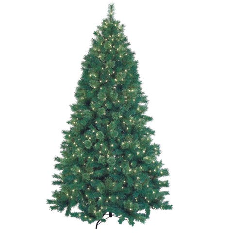 7.5-foot Deluxe Pre-lit Artificial Christmas Tree with Metal Base