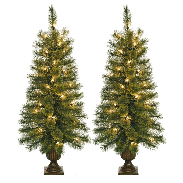 Shop 3 5 Foot Pre Lit Artificial Christmas Tree With Plastic Pot Stand Set Of 2 On Sale Free Shipping Today Overstock Com 9283597