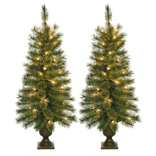 3.5-foot Pre-lit Artificial Christmas Tree with Plastic Pot Stand (Set of 2)