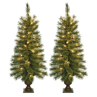 35 foot pre lit artificial christmas tree with plastic pot stand set of