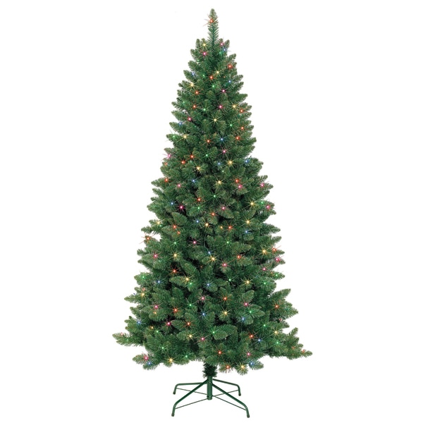 7-foot Slim Pre-Lit Artificial Christmas Tree With Metal Stand - Shop 7-foot Slim Pre-Lit Artificial Christmas Tree With Metal Stand
