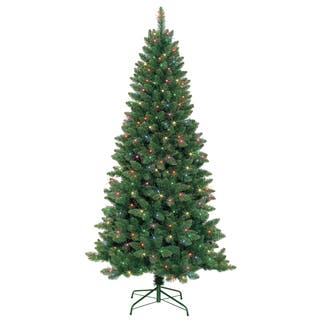 7-foot Slim Pre-Lit Artificial Christmas Tree With Metal Stand|https://ak1.ostkcdn.com/images/products/9283605/P16446634.jpg?impolicy=medium