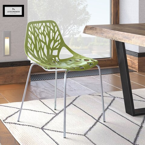 LeisureMod Asbury Green Open Back Chrome Dining Side Chair