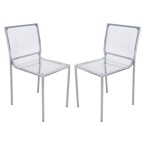 LeisureMod Almeda Lucite Acrylic Clear Dining Side Chair (Set of 2)