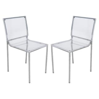 LeisureMod Almeda Acrylic Clear Transparent Dining Chair (Set of 2)