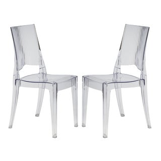 LeisureMod Coral Transparent Clear Dining Chair (Set of 2)